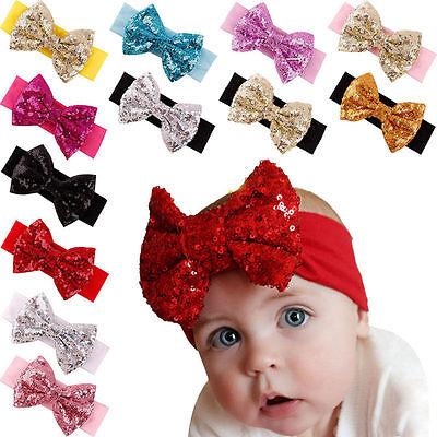 Baby Infant Girls Hair Band Sequined Bow Headband Turban Knot Hair  Headwear
