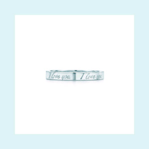 """Size 8 Sterling Silver Tiffany and Co. Notes """"I Love You"""" Ring"""