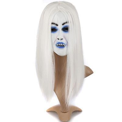 Halloween Party Dress Costume Prop Scary White Hair Evil Ghost Latex Mask - Scary White Dress