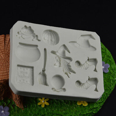 Diy Halloween Theme Broom Pumpkin Frog Witch Cake Mold Fondant Chocolate Mould - Diy Witch Broom