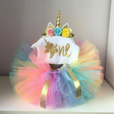 US Infant Kids Baby Girls Unicorn Romper Tulle Skirt Dress 1st Birthday Outfits