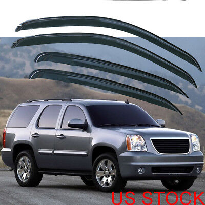 4x Window Vent Visors Tape-On for Chevy Silverado/GMC Sierra Crew Cab 2008-2012