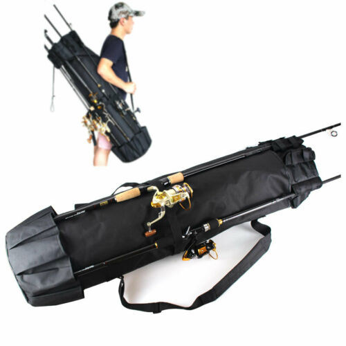 Fishing Rod Reel Organizer Carrier Bag Travel 5 Pole Tackle Holder Storage Case