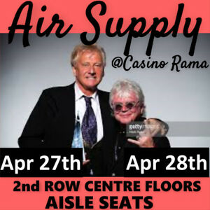 AIR SUPPLY @ CASINO RAMA- AMAZING 2nd ROW CENTRE FLOORS & MORE!!