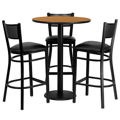 Restaurant Table Chairs 30 Natural Laminate With 3 Grid Back Metal Bar Stools