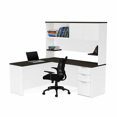 Bestar Pro Concept Plus L Desk with Hutch in White and Deep - Bestar Hutch