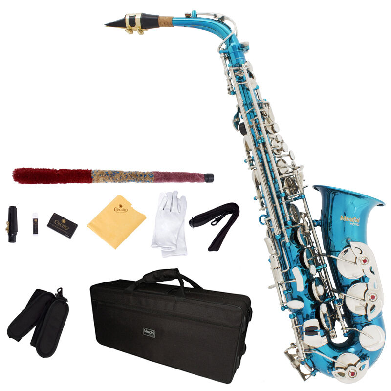 Mendini Eb Alto Saxophone Sax Gold Silver Blue Green Purple Red Care Kit