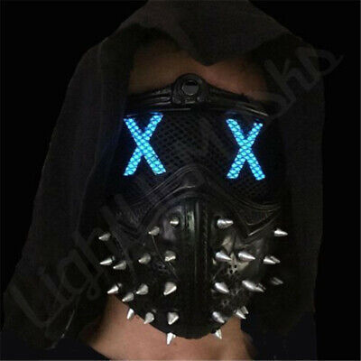 Watch Dogs2 Mask Marcus Wrench LED Light Rivet Face Mask Cosplay Halloween Party
