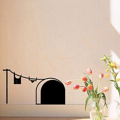 Katze Schwarze Maus Loch Tür Wand Fenster Abziehbild Wandaufkleber Vogu Tn ()