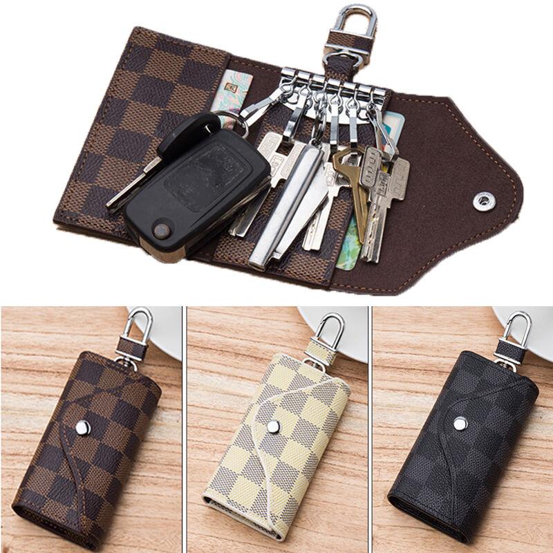 Women Men Leather Car KeyChain Card Holder Wallet Case key Organizer Bag keyring