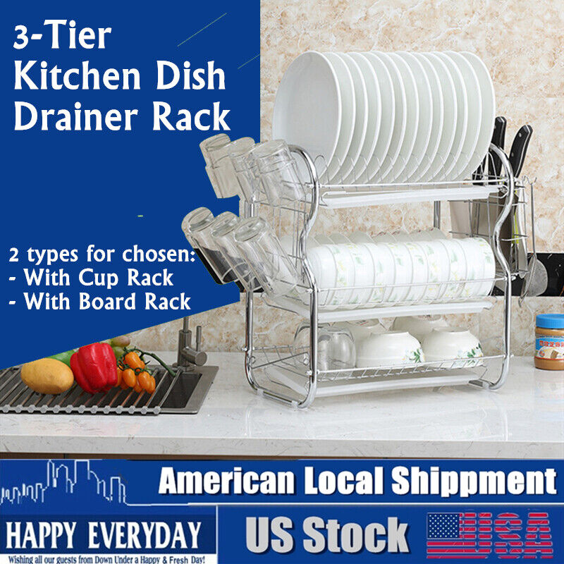 3-Tier Multi-function Stainless Steel Dish Drying Rack,Cup Drainer Strainer US