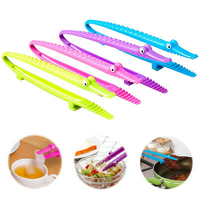 1PC Crocodile Serving Tongs Kitchen Food Tongs Plastic Fruit Salad Cake Clip