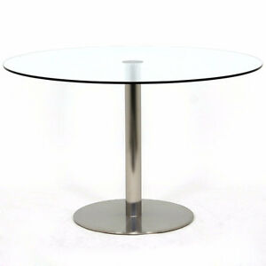 """Stainless Steel / Glass - Round Dining Room Table - 48"""" diameter"""