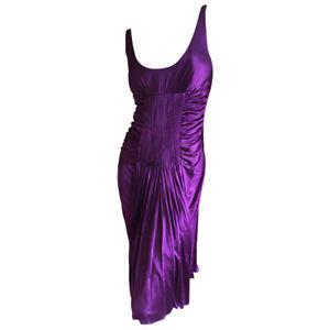 VERSACE vintage pleated purple jersey low cut cocktail dress