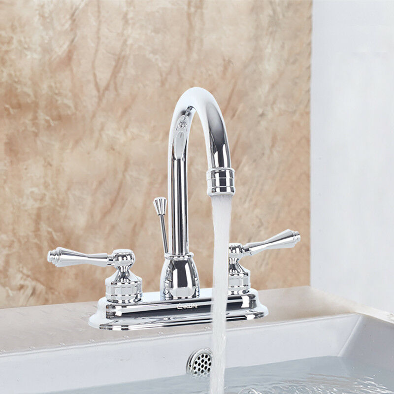 """4"""" Chrome Bathroom Sink Faucet 2 Handles Mixer Tap Pop Up Drain Lavatory 3 Hole"""