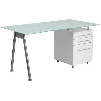 Frosted Glass Office Desk With White Pedestal