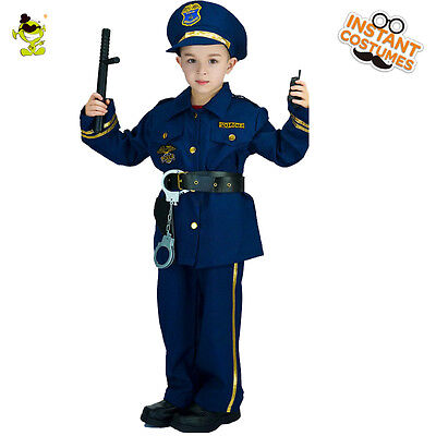 Cool Police Officer Costumes Boys Policeman&Cop&Patrol Man Cosplay for Children