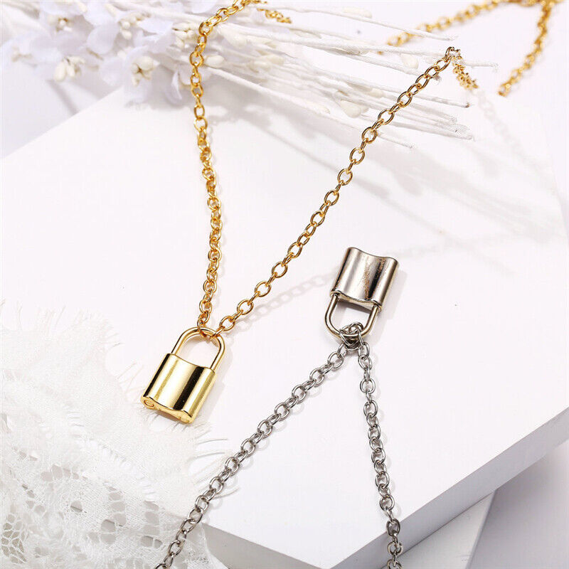 Alloy Lock Pendant Necklace Charms Padlock Long Chain Choker Jewelry Fashion 5