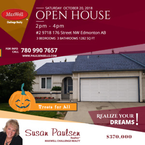 Open House today 2-4 #2 9718 176 Street NW - Halloween Treats