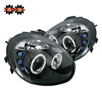 For 03-05 Dodge Neon Dual Halo Projector Headlights LED Black Housing Clear Lens Dodge Neon Headlamp Assembly