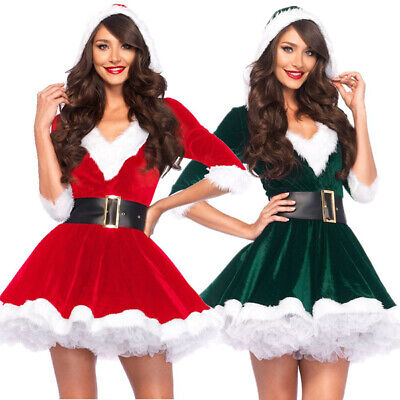 Womens Christmas Fancy Dress Outfits (Christmas Fancy Mrs Santa Claus Dress Xmas Ladies Womens Adults Costume)