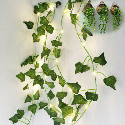 Leaves Garland Ivy Leaf Party Garden Decor 2M 20LED Lamps Fairy String Lights