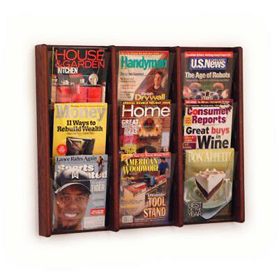Wooden Mallet Ac26-9 Dark Red Mahogany 9 Slot Magazine Display Rack