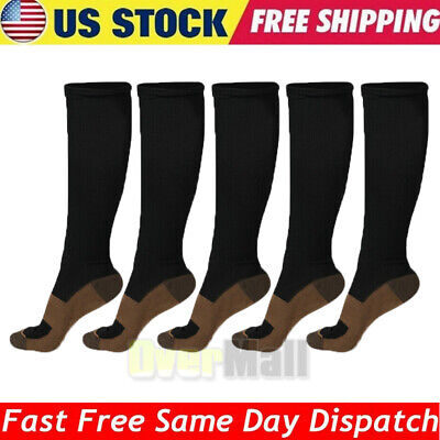 5 Pairs Copper Fit Energy Knee High Compression Socks, SM L/XL XXL Free Ship USA