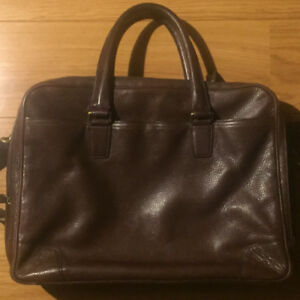 COACH Crosby Pebbled Brown Leather Briefcase