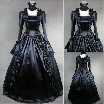 Gothic Butler Kostüme (Black Butler Cosplay Kostüm Abendkleid Lolita Goth schwarz Gothic Victorian lang)