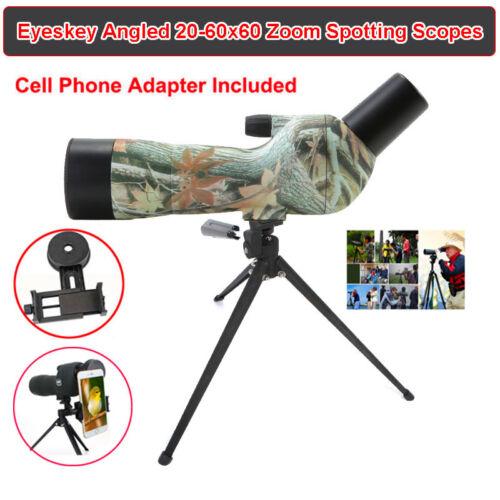 NewFast 20-60x60Zoom Angled Spotting Scope Telescope w/Tripod/Phone Adaptor/Case