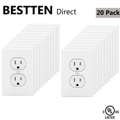 20PK BESTTEN 15A Duplex Wall Outlet Tamper Resistant (TR)Receptacle UL White 15a Duplex Receptacle