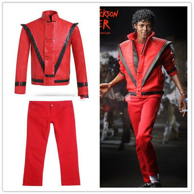 Michael Jackson Thriller MTV Costume Red Suit Red Jacket Pants Outfit Men New - Michael Jackson Red Outfit