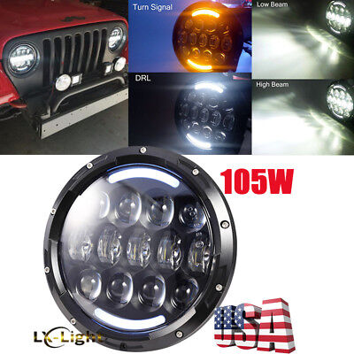 "DOT Approved 7"" inch Round Led Sealed Beam Headlight for Jeep Wrangler JK TJ CJ"