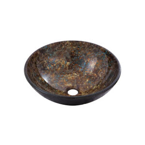 Aquabrass 97051 Round Canyon Bronze Tempered Glass Basin