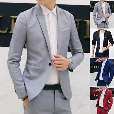 Casual da Uomo Slim Formale un Pulsante Abito Giacca Cappotto Blazer Business