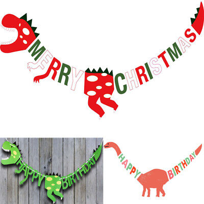 Merry Christmas Dinosaur Birthday Party Decor Banner Garland Photo Prop - Merry Christmas Photo