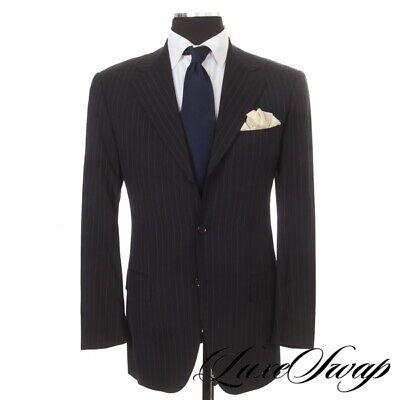 #1 MENSWEAR Pal Zileri Sartoriale Navy Blue Banker Stripe 3B 2V FF Suit Italy 50