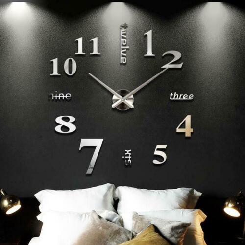 DIY Wanduhr Wohnzimmer Uhr Spiegel Wandtattoo Deko XXL 3D Stylisch Design NEU