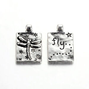 10 Word Charms Pendants Quote Charms Inspirational FLY Dragonfly Charms Silver