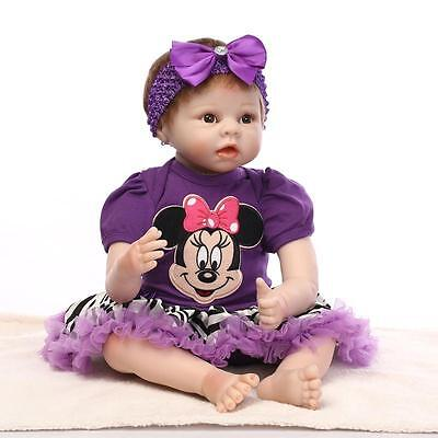 22 Inch Silicone Reborn Baby Dolls Soft Cloth Body Baby Alive Fashion Dolls Toy