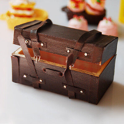 1:12 Dollhouse Miniature Vintage Leather Wood Suitcase Mini Luggage Box New