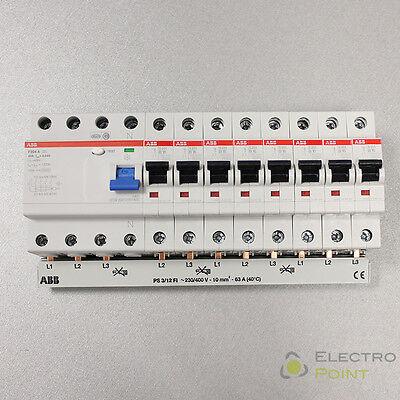 ABB Set:1x FI F204A-40/0.03 +  8x Sicherung S201-B16 + 1x Phasenschiene PS3/12FI