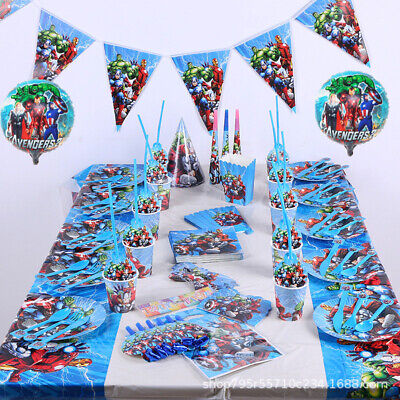 Marvel Avengers Superheroes Kids Birthday Party Supplies Tableware Decor Plates (The Avengers Birthday Party)