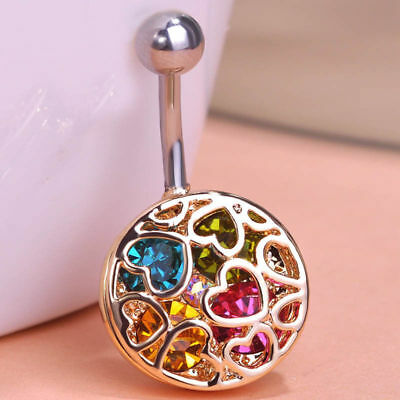 Heart Multi-Color Drop Body Piercing Belly Button Ring Dangly Reverse Navel Bars