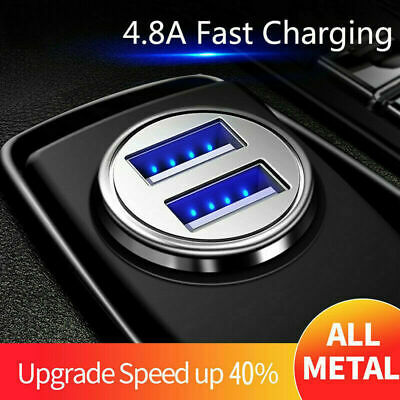 4.8A Fast Charging 2/Dual USB Car Charger LED Metal Mini For iPhone Samsung HTC