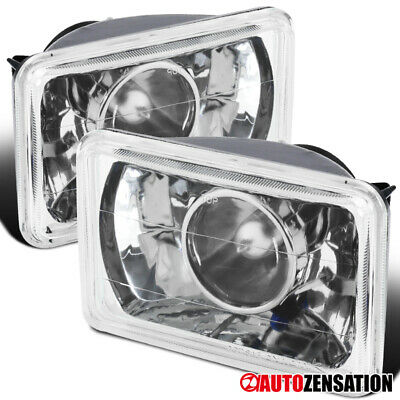 4x6 Sealed Beam Chrome H4 Conversion Crystal Projector Headlights+Blue City Lamp ()