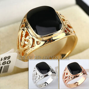 Fashion-Simulated-Onyx-Black-Glaze-Ring-18KGP-No-Stone