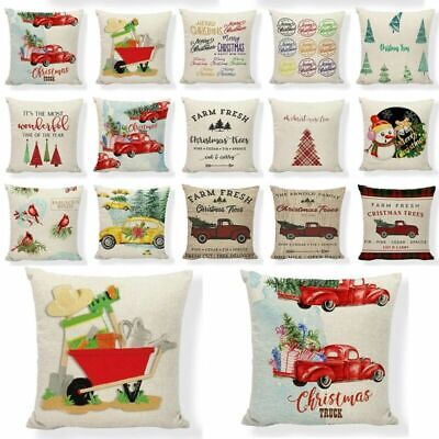 Red Farm Christmas Tree Linen Throw Pillow Case Truck Happy Camper Cushion Cover ()