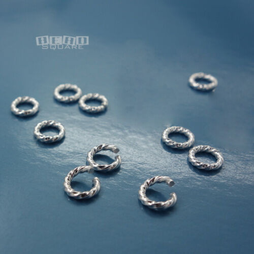 10 PC Solid Sterling Silver Twist / Rope Open Jump Rings Connectors